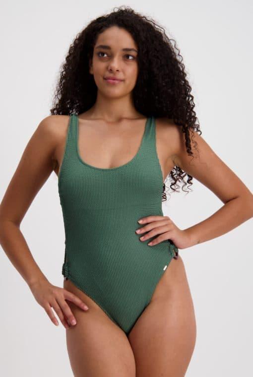 Piha Retro Bubble Ring Bikini Trim Tank Swimsuit