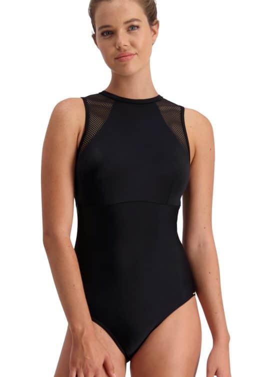Piha Solid Separates Mesh High Neck Swimsuit